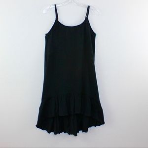 RubiMoon Black Ruffled Slip Dress Tunic Adjustable